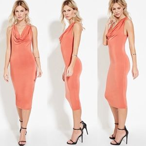 Dresses & Skirts - Coral/rust colored cowl neck midi dress